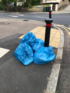 Blue rubbish sacks used by Lewisham Council street cleaners