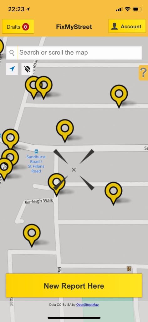 FixMyStreet APP mobile screen